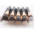 10бр четки за грим от естествен косъм с дървени дръжки - черни