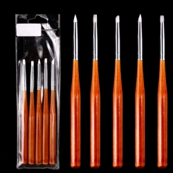 5бр силиконови четки дървена дръжка за нанасяне на пигменти и 3D гел