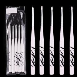 5бр силиконови четки тигрова дръжка за нанасяне на пигменти и 3D гел