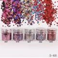брокат блестящ за декорация на нокти маникюр люспи хексагон 10ml ,5-68 -- 004,007,025,079,097