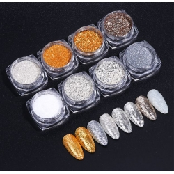 8 бр комплект брокат сребро и злато SA1506