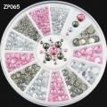 3d декорация 4 размера камъчета розови,кристални,сиви ZP065