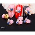 3D декорация за нокът розава роза с перли и диаманд TN686