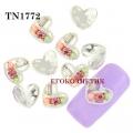 3D декорация за нокът сребърно сърце с камъчета TN1772