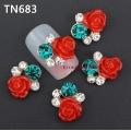 3D декорация за нокът червена роза с перли TN683