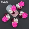 3D декорация за нокът розава роза с перли TN687