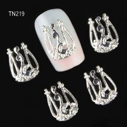 3D декорация за нокът сребърна корона TN219