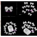 3D декорация за нокът сребърна панделка с кристали K017