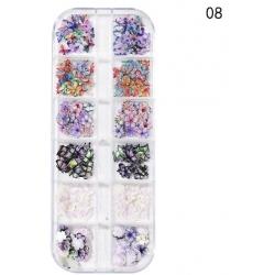 240 бр Имитации на Цветя и Пеперуди за Декорация на Маникюр Модел8