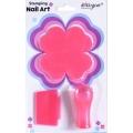 комплект диск и печат за маникюр, декорация детелина розова
