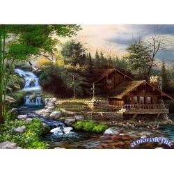 5D диамантен/елмазен гоблен къща до водопад