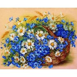 5D диамантен/елмазен гоблен полски цветя в кошница