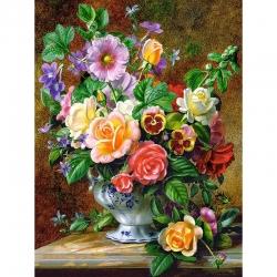 5D диамантен/елмазен гоблен рози и теменуги във ваза
