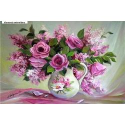 5D диамантен/елмазен гоблен рози и люляци във ваза