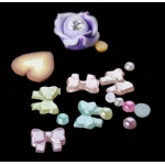 микс камъчета,фимо,перли за декорация на маникюр в розово 8YEH