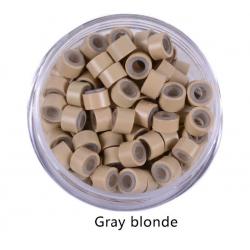 екстешън пръстени със силикон 5 мм 100бр - gray blonde