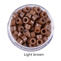 екстешън пръстени със силикон 5 мм 100бр - light brown