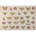 3D стикер пеперуди цветя златни цветни лепящ FDY109