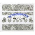 3D стикери за маникюр дантела сребърен HBJY 024