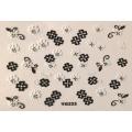 3D стикер цветя черно бели лепящ YG223