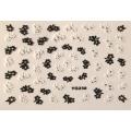 3D стикер цветя черно бели лепящ YG238