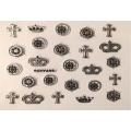 3D стикер корони сребърни черни лепящ YGYY498