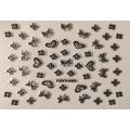 3D стикер панделки сребърни черни лепящ YGYY495