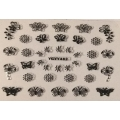 3D стикер пеперуди сребърни черни лепящ YGYY482