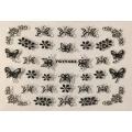 3D стикер пеперуди сребърни черни лепящ YGYY483