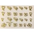 3D стикер свети валентин златни лепящ YGYY190