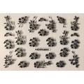 3D стикер цветя сребърни черни лепящ YGYY491