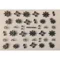 3D стикер цветя сребърни черни лепящ YGYY494