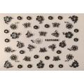 3D стикер цветя сребърни черни лепящ YGYY496