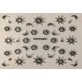 3D стикер цветя сребърни черни лепящ YGYY499