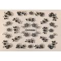 3D стикер цветя сребърни черни лепящ YGYY500