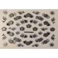 3D стикер цветя сребърни черни лепящ YGYY502
