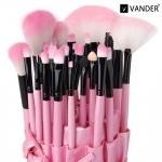 VANDER професионални четки за грим в кожен калъф - розови - 32бр